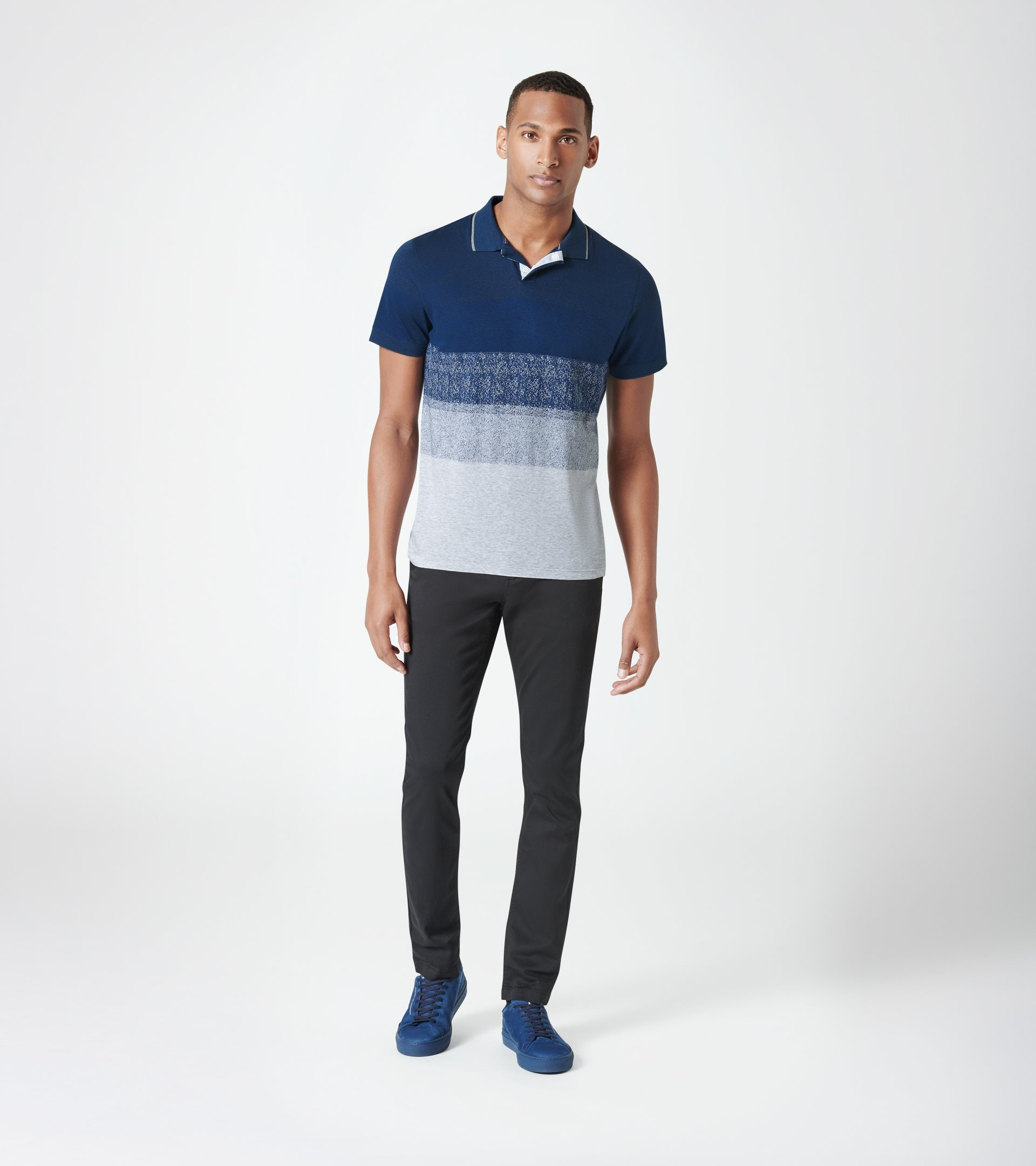 Hidden Placket Jacquard Polo