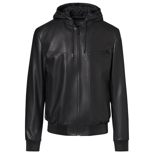Hooded Leather Bomber
